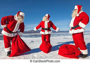 Meeting of three Santa Clauses