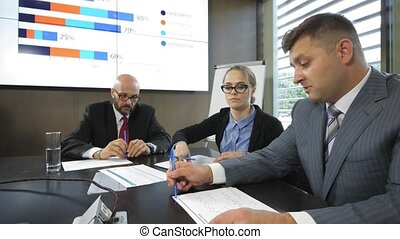 Meeting of top managers of the company to discuss priority...