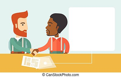 A white and black american businessmen handshaking and having a business meeting with a contract to be sign. Business partnership concept. A contemporary style with pastel palette soft blue tinted background. Vector flat design illustration. Horizontal layout with text space in right side.