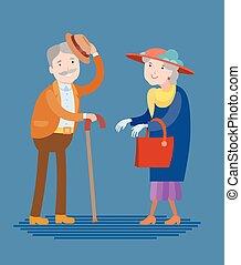 Meeting of two elderly people - Flat style vector meeting of...