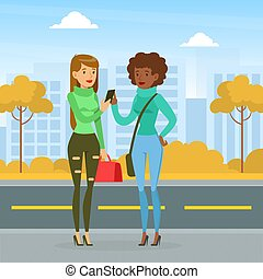 Meeting of Two Friends, Two Girls Walking and Chatting on City Street, Best Friends Forever, Female Friendship Concept Cartoon Vector Illustration