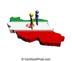 Meeting on Iran map flag illustration
