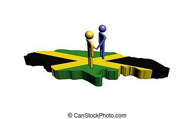 Meeting on Jamaica map flag illustration