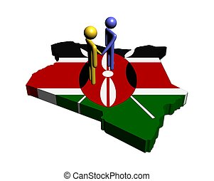 Meeting on Kenya map flag illustration