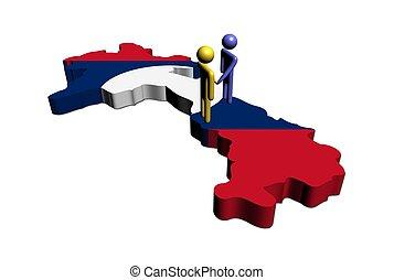 Meeting on Laos map flag illustration