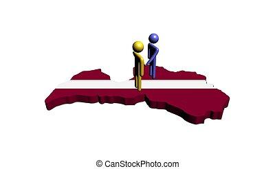 Meeting on Latvia map flag illustration