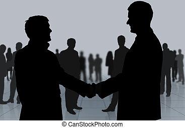 meeting., pessoas, agitação, negócio passa