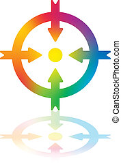 Meeting Point Arrows - Four Colored Arrows Pointing to a Dot...