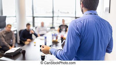 meeting., présentation, affaires entreprise