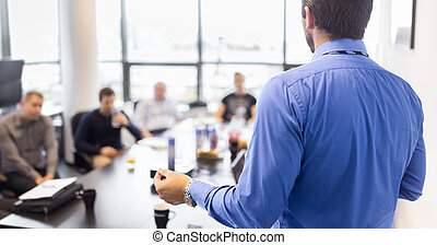 meeting., presentazione, affari corporativi