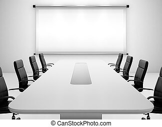 Meeting room - 3D render of meeting room with projection...