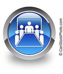 Meeting room glossy icon - Meeting room icon on glossy blue...