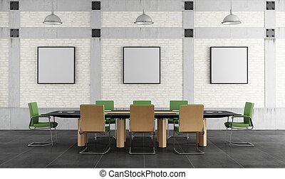 meeting room in a loft - Meeting room in a loft with brick...