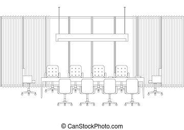 Meeting room line interior with meeting table and chairs.