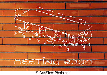 meeting room or board room design - illustration of table...