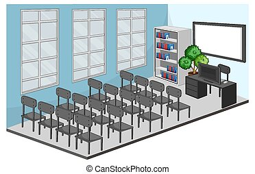 Meeting room or classroom interior with furniture illustration
