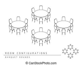 Meeting room setup layout configuration Banquet Rounds...
