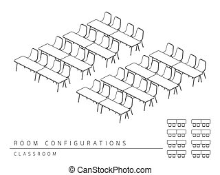 Meeting room setup layout configuration Classroom style,...