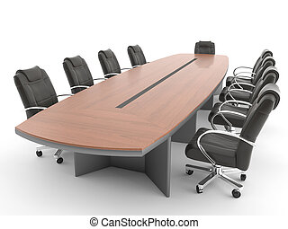 Meeting room table isolated on white - meeting room table...