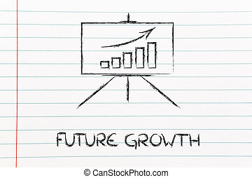 meeting room whiteboard stand with positive stats graph -...