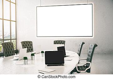 Meeting room with billboard