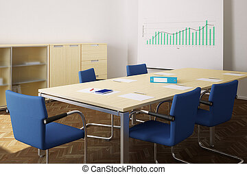 Meeting room with blue chairs and flipchart closeup