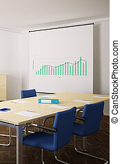 Meeting room with blue chairs and flipchart upright