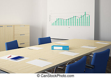 Meeting room with blue chairs and table