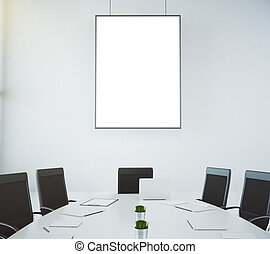 Meeting room with table and chairs and blank picture frame, mock up