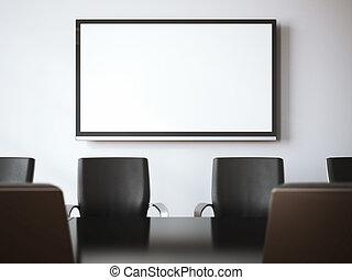 Meeting room with tv screen. 3d rendering