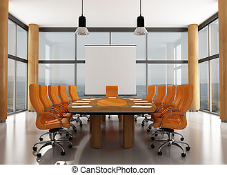 Meeting room - wooden and orange meeting room with large...