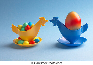 meeting - two chicken- eggcups kissing each other - zwei...