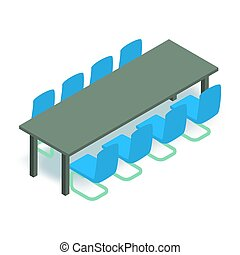 Meeting table icon isometric 3d style - Meeting table icon....