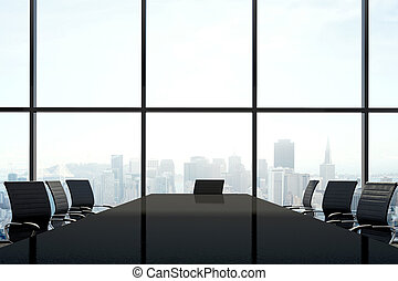 Meeting Table On City View Background
