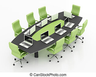 meeting table with notebook