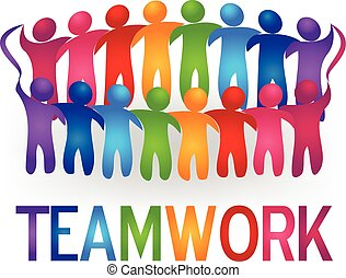 Meeting teamwork people logo vector