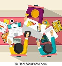 meeting., uomini affari, affari, computer., vista, vettore, grafici, disegno, cima, appartamento, illustration.