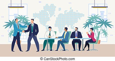 Meeting with Business Partners Flat Vector Concept