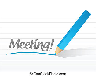 meeting written on a white paper.