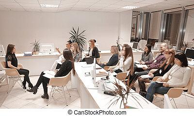meeting.creative, 仕事, ビジネス, ideas., チーム, 新しい, 論じる