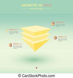 meetkunde, abstract, piramide, 3d, infographic, iconen, design.