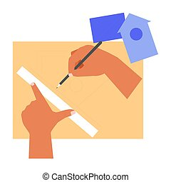 meetlatje, birdhouse, handcraft, opstellen, handen, potlood