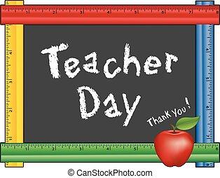 meetlatje, dag, bord, appel, leraar