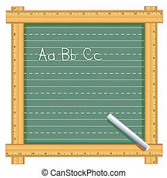 meetlatje, frame, alfabet, chalkboard