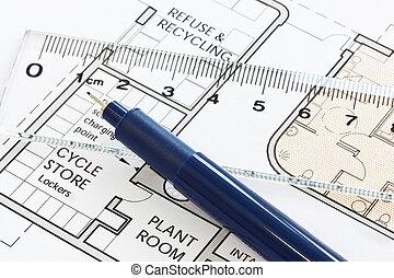 meetlatje, pen, floorplan