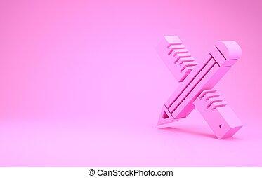 meetlatje, symbool., 3d, pictogram, illustratie, render, tekening, onderwijs, minimalism, gekruiste, potlood, concept., vrijstaand, roze, straightedge, achtergrond., tools.