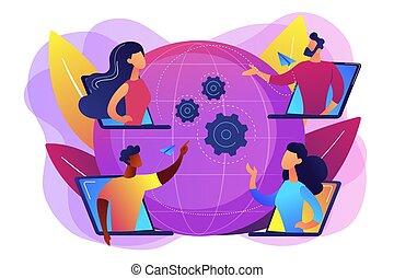 meetup, concept, vector, illustratie, online