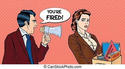 megáfono, arte, enojado, taponazo, jefe, vector, ilustración, woman., fireing, estridente