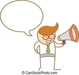 megáfono, carácter, caricatura, oratoria, hombre