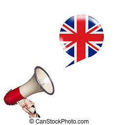 megáfono, extranjero, hablar, idioma
